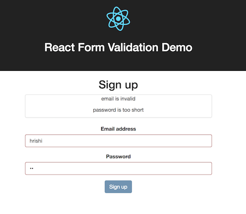 how to do simple form validation in reactjs learnetto. Black Bedroom Furniture Sets. Home Design Ideas
